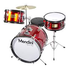 Mendini by Cecilio MJDS-3-BR 3-Piece 16-Inch Bright Red Junior Drum Set
